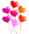 Heart-shaped balloons with ribbons