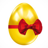 Gift golden easter egg. Vector image.