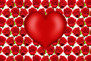 Valentine heart on a red roses pattern background