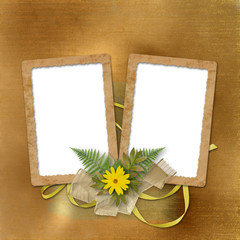 Congratulation to the holiday with paper and yellow flowers