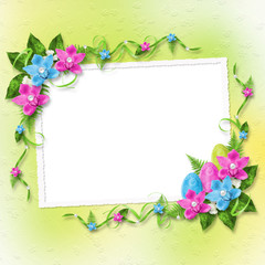 Pastel background with colored eggs and orchids to celebrate Eas