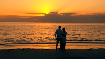 Older Couple Watching the Sunset filmed at 60FPS