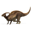 Dinosaur Parasaurolophus. 3D rendering with clipping path and