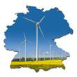 Windkrafträder in einem Rapsfeld in abstrakter Deutschlandkarte