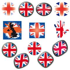 British Flag symbols icons Buttons vector illustration UK