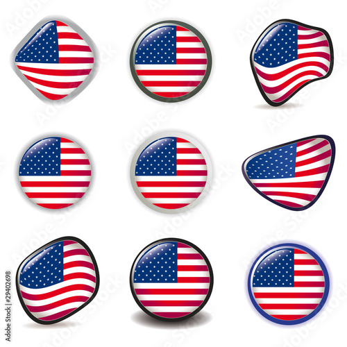 American Flag symbols icons Buttons vector illustration USA