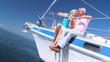 Happy Senior Couple Aboard Luxury Yacht filmed at 60FPS