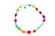 a colorful glass bead necklace on white