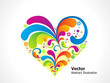 abstract colorful floral heart