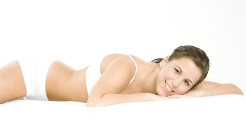 lying down woman wearing underwear