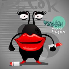 red lips monster cartoon vector