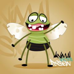 fly cartoon vector illustration