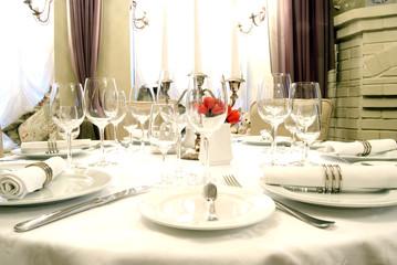 Dining table in modern restaurant