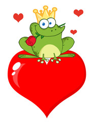 Frog Prince With A Rose Over Red Heart