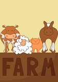 farm animals set poster