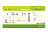 Plane ticket first class green