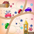 Road with color cars, children's style