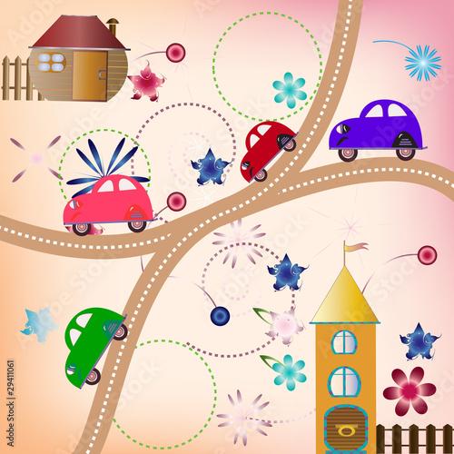 Foto op Plexiglas Op straat Road with color cars, children's style