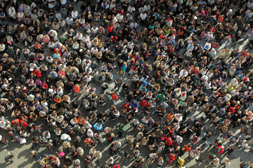 crowd from bird´s view