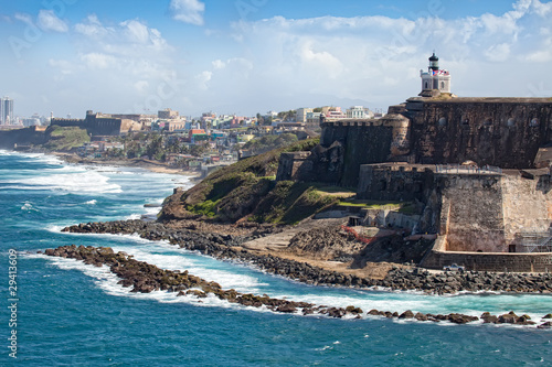 Spoed canvasdoek 2cm dik Caraïben El Morro Castle in Old San Juan, Puerto Rico
