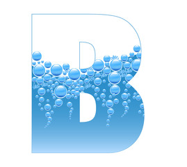 Bubbles and Water Isolated Alphabet Letter B