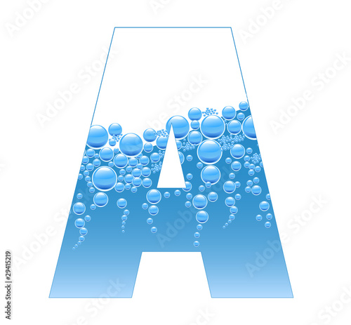 Bubbles and Water Isolated Alphabet Letter A