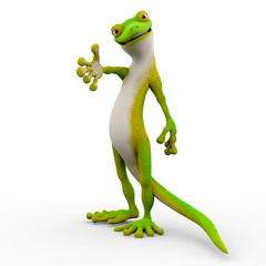 gecko cartoon helping hand