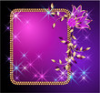 Glowing background with transparent flowers and stars