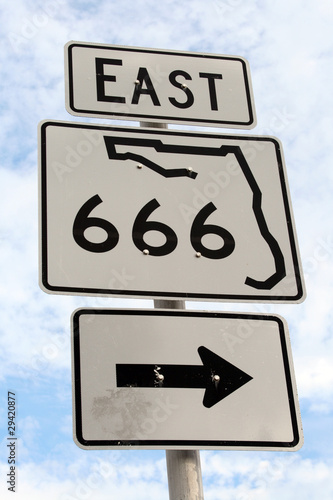 Poster Florida East Highway 666 Right Sign