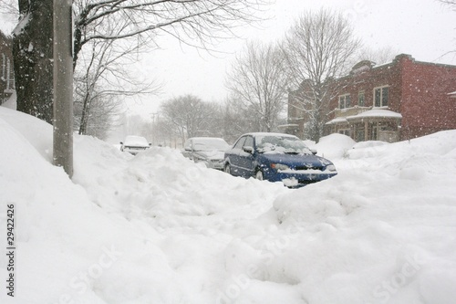 Blizzard in a residential quarter of Quebec City, Canada