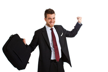 Smiling businessman expressing success isolated on white