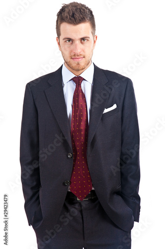 Serious businessman isolated on white