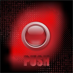 """Push the button"", abstract red vector background"
