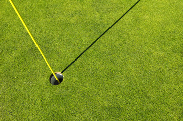 Golf hole in a green grass field background
