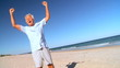 Senior Male Fun Beach Exercise filmed at 60FPS