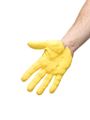 Hand with Yellow paint