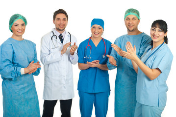 Doctors team applauding