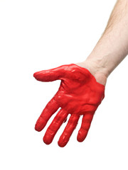 Red painted hand