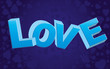 Blue valentine background with big LOVE word and curls