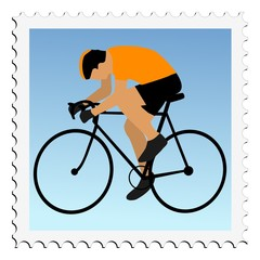 Cycling. Vector stamp