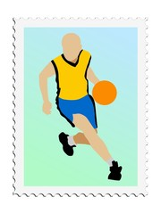 Basketball. Vector stamp