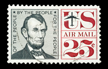 mail stamp printed in the USA featuring Abraham Lincoln