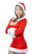 Sexy mrs. Santa smiling and posing isolated on white