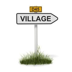panneau village + départementale