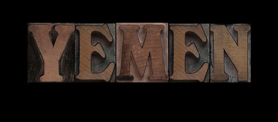 Yemen in old wood type