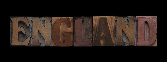 England in old wood type