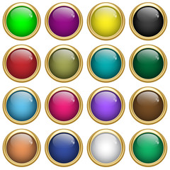 Web buttons round set in gold