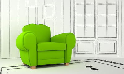 Interior project - green seat