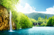Leinwandbild Motiv waterfall in deep forest