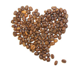 whole lovely coffee beans on white background